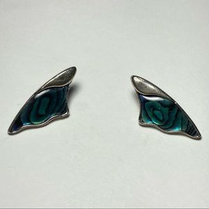 Vintage Silver Wing-Shaped Clip On Earrings
